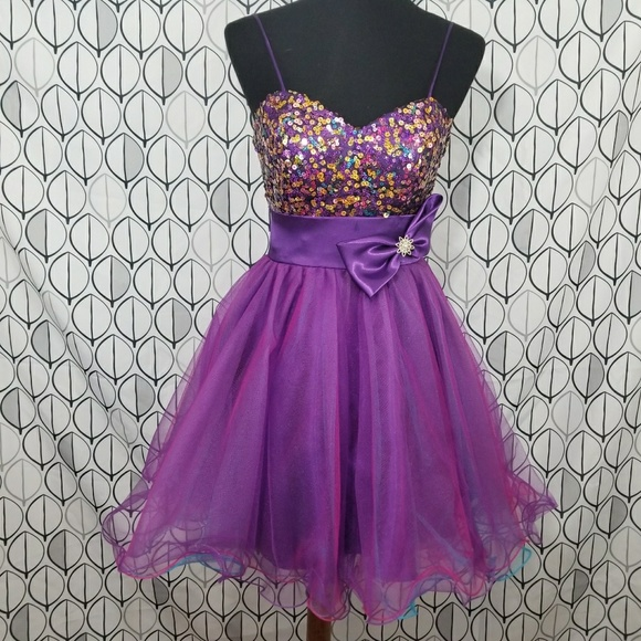 Cindy USA Dresses | Ultra Violet Sequin Cupcake Prom Dress | Poshmark
